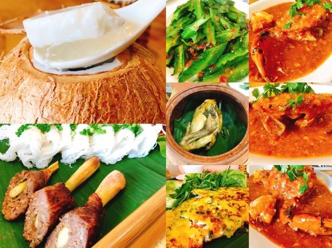 吃货在越南的网红美食与景点打卡深度游路线攻略之椰子冻、琥珀辣椒蟹、国宴瓦罐土鸡、越南小吃拼盘、马来酱龙豆、琥珀煎饼、越南春饼、甘蔗虾